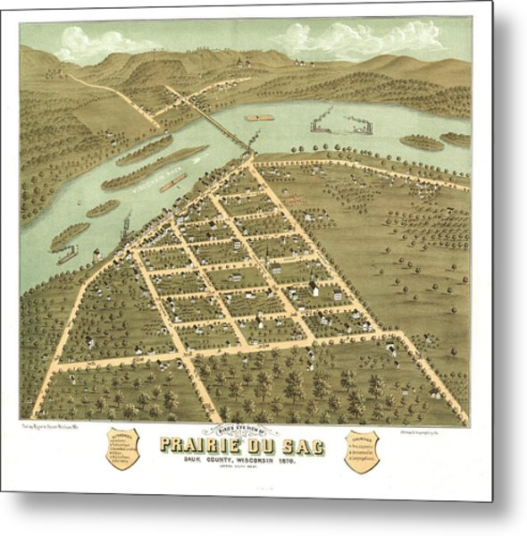 Bird's Eye View Of Prairie Du Sac, Sauk County, Wisconsin 1870 Metal Print