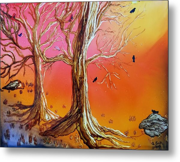 Birds In Trees Metal Print