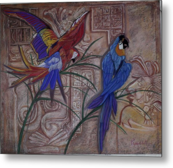 Birds On A Mayan Wall Metal Print
