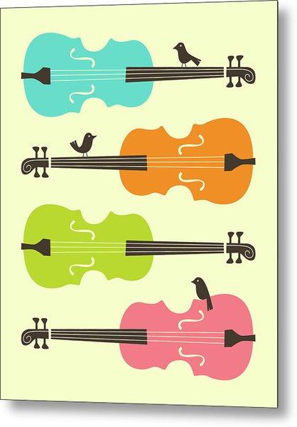 Birds On Cello Strings 2 Metal Print
