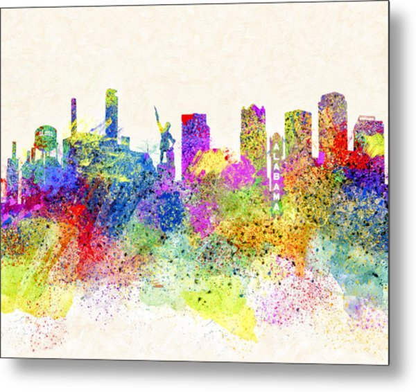 Birmingham Alabama Skyline Art Metal Print