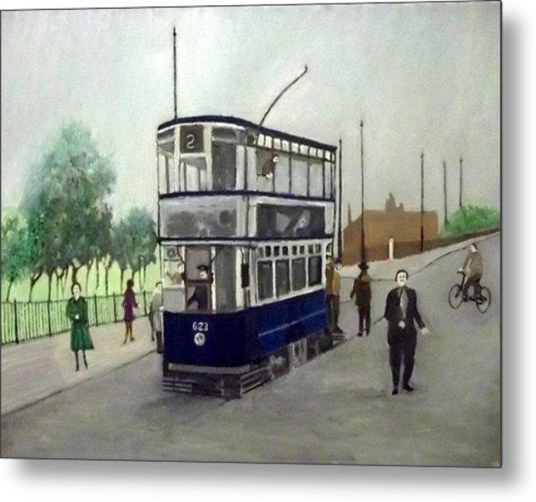 Birmingham Tram With Figures Metal Print