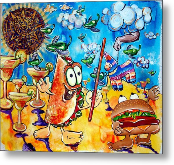 Birthday Party With Mister Taco And Piata Metal Print by Charles Harrison Pompa