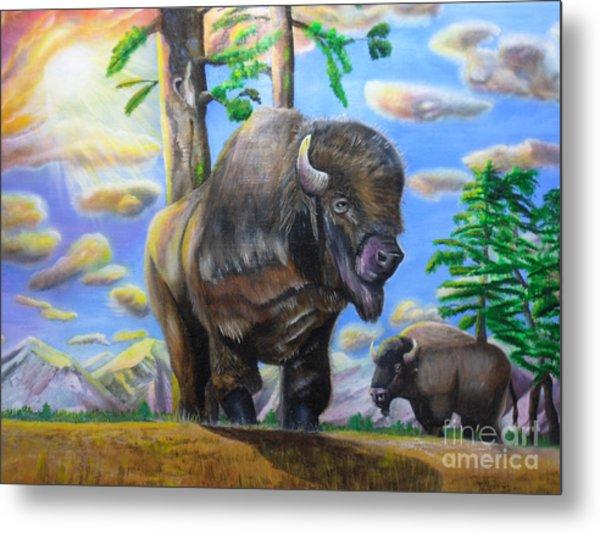 Bison Acrylic Painting Metal Print