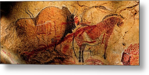 Bison Horse And Other Animals Closer - Narrow Version Metal Print