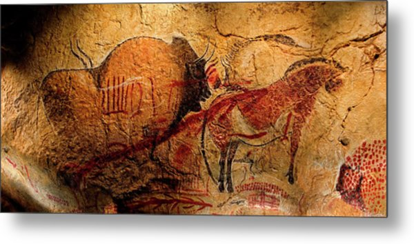 Bisons Horses And Other Animals Closer Metal Print