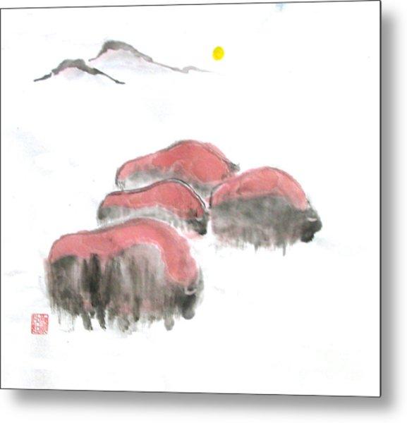 Bisons In Snow I Metal Print by Mui-Joo Wee