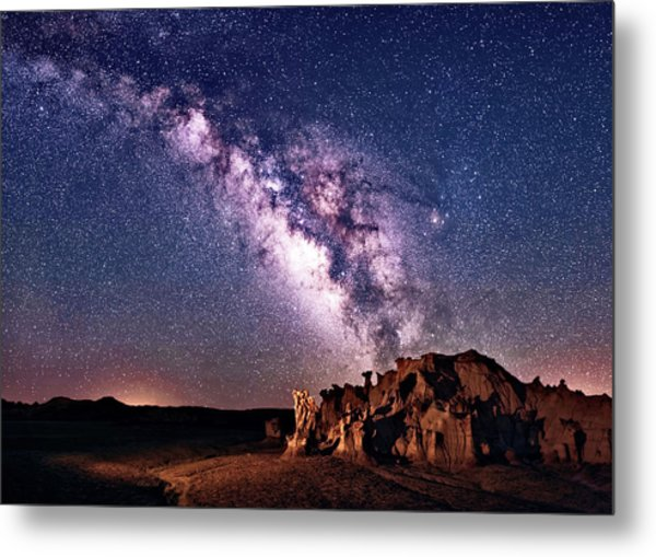 Bisti Badlands Night Sky Metal Print