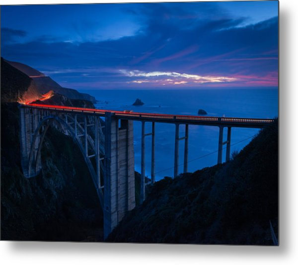 Bixby Canyon Bridge Sunset Metal Print