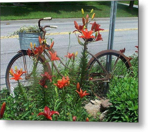 Biycle Flowers Metal Print