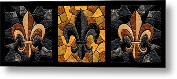 Black And Gold Fleur De Lis Triptych Metal Print