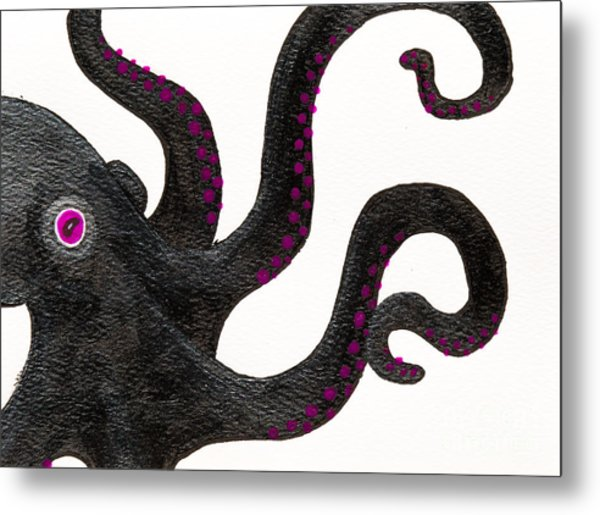Black And Purple Octopus Metal Print