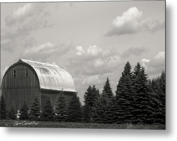 Black And White Barn Metal Print
