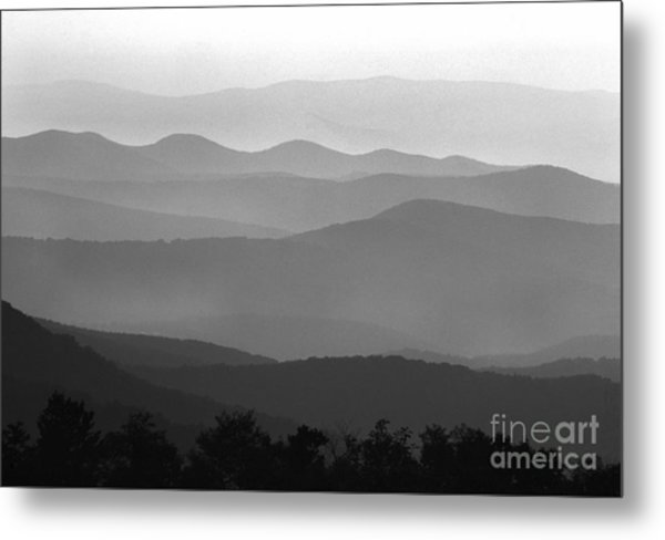 Black And White Blue Ridge Mountains Metal Print