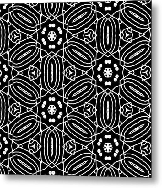 Black And White Boho Pattern 2- Art By Linda Woods Metal Print
