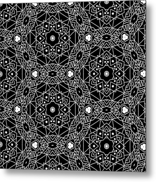 Black And White Boho Pattern 3- Art By Linda Woods Metal Print