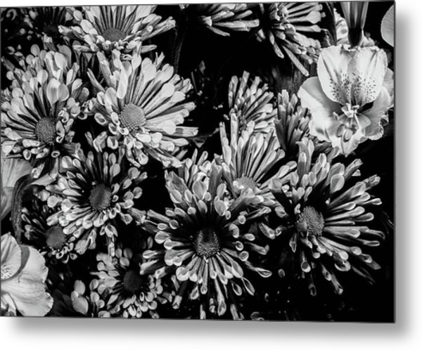 Black And White Bouquet Metal Print