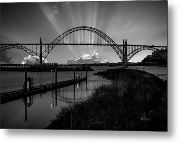 Black And White Bridge Metal Print