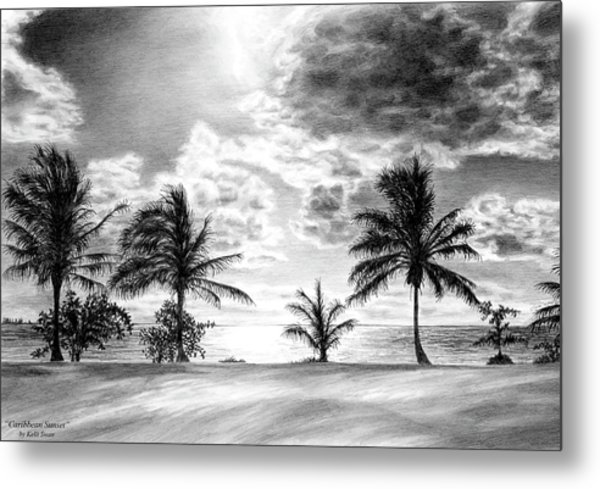 Black And White Caribbean Sunset Metal Print