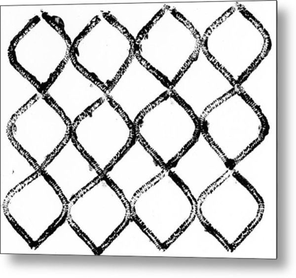 Black And White Chain Link Fence Metal Print