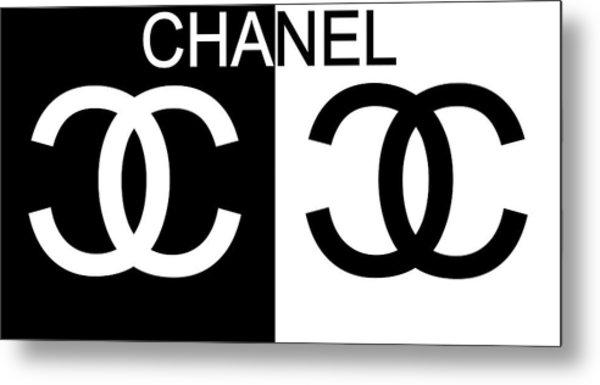 Black And White Chanel 2 Metal Print