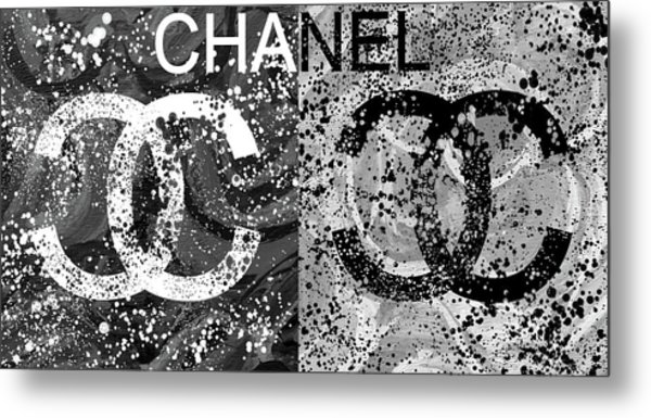 Black And White Chanel Art Metal Print