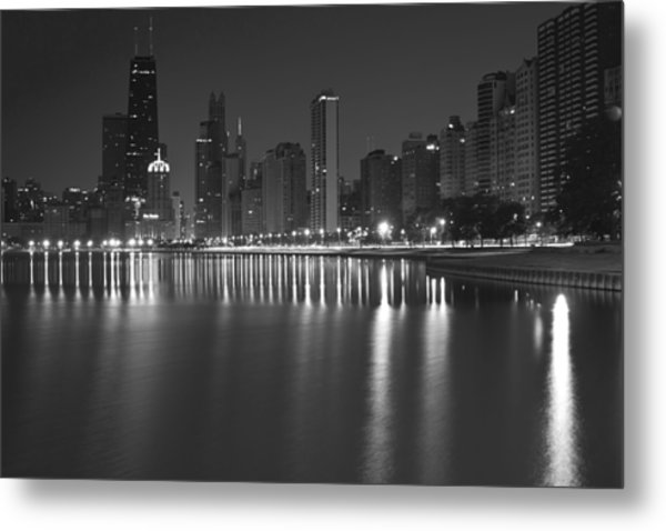 Black And White Chicago Skyline At Night Metal Print