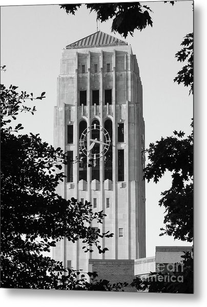 Black And White Clock Tower Metal Print