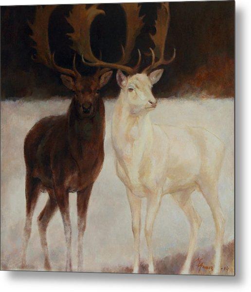 Black And White Fallow Deers Metal Print