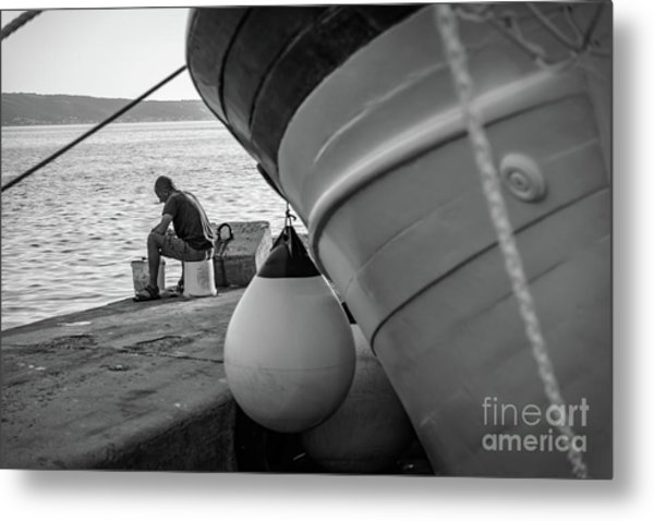 Black And White - Fisherman Cleaning Fish On Docks Of Kastel Gomilica, Split Croatia Metal Print