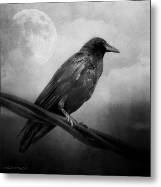 Black And White Gothic Crow Raven Art Metal Print