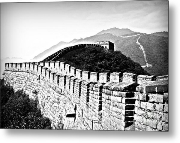 Black And White Great Wall Metal Print by Alessandro Giorgi Art Photography