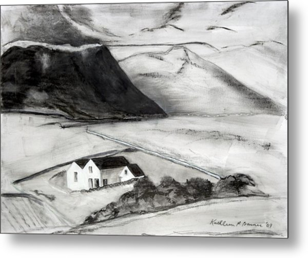 Black And White House And Hills Metal Print