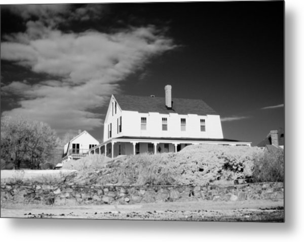 Black And White Image Of A House In New England In Infrared Metal Print by David Thompson