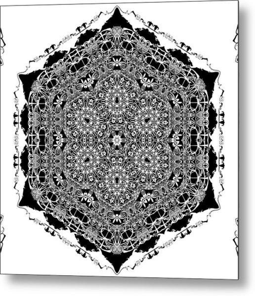 Metal Print featuring the digital art Black And White Mandala 15 by Robert Thalmeier