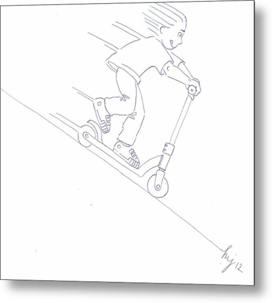 Black And White Micro Scooter Downhill Drawing Metal Print