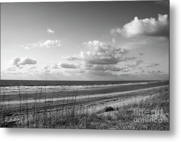 Black And White Ocean Scene Metal Print