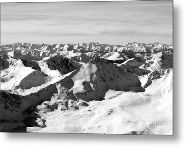 Black And White Of The Summit Of Mount Elbert Colorado In Winter Metal Print