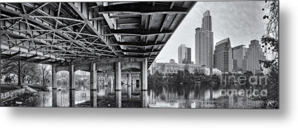 Black And White Panorama Of Downtown Austin Skyline Under The Bridge - Austin Texas  Metal Print