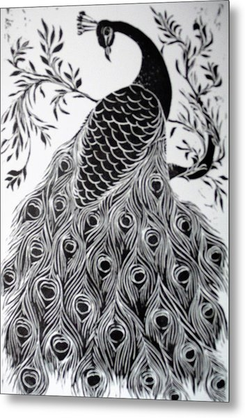 Black And White Peacock Metal Print