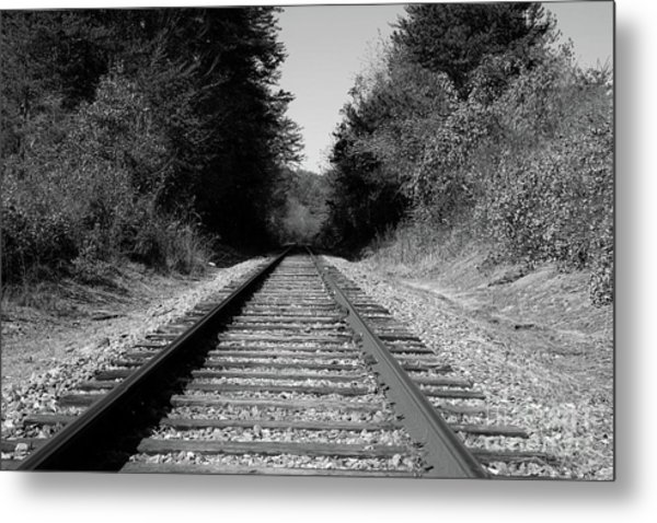 Black And White Railroad Metal Print