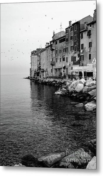 Black And White - Rovinj Venetian Buildings And Adriatic Sea, Istria, Croatia Metal Print