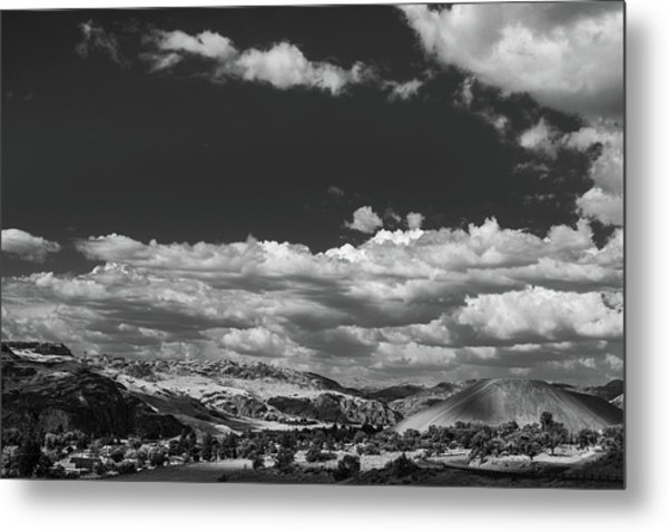 Black And White Small Town  Metal Print