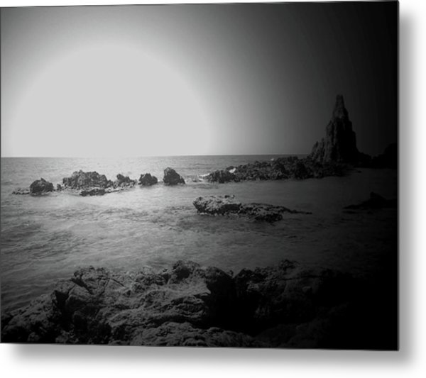 Black And White Sunset In Spain Metal Print