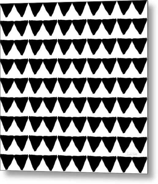 Black And White Triangles- Art By Linda Woods Metal Print