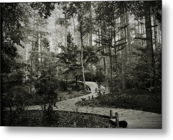 Black And White Vintage Edit -walk In Peace  Metal Print