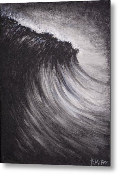 Black And White Wave Guam Metal Print