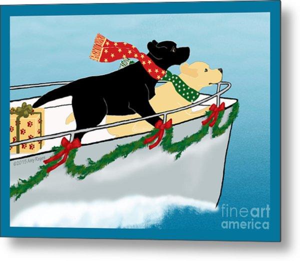 Black And Yellow Labs Boat To Christmas Metal Print