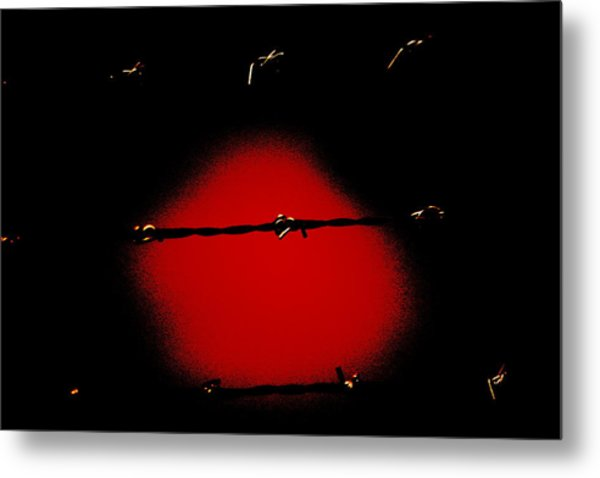 Black Barbed Wire Over Black And Blood Red Background Eery Imprisonment Scene Metal Print