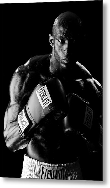 Black Boxer In Black And White 03 Metal Print by Val Black Russian Tourchin